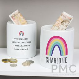 Personalised Rainbow Ceramic Money Box