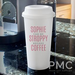 Personalised Pink Text Slogan Double Walled Travel Mug