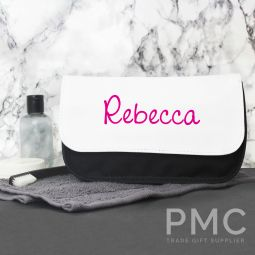 Personalised Pink Name Island Make Up Bag