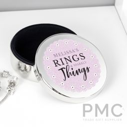 Personalised Lilac Lace 'Rings & Sparkly Things' Round Trinket Box