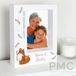 Personalised Mummy and Me Fox 7x5 Box Photo Frame