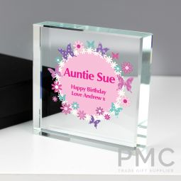 Personalised Butterfly Large Crystal Token