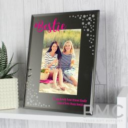 Personalised Bestie 6x4 Diamante Glass Photo Frame