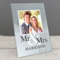 Personalised Mr & Mrs 4x4 Glitter Glass Photo Frame
