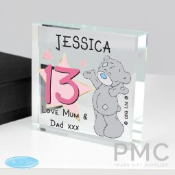 Personalised Me To You Sparkle & Shine Birthday Large Crystal Token