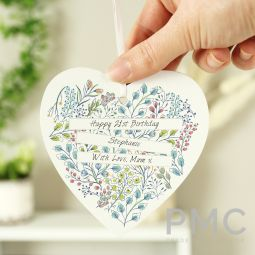 Personalised Botanical Wooden Heart Decoration