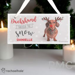 Personalised Rachael Hale Christmas Dachshund Through the Snow Wooden Sign