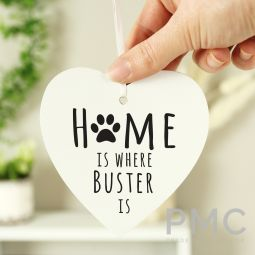 Personalised 'Home is Where' Pet Wooden Heart Decoration