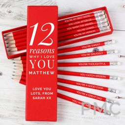 Personalised 12 Reasons Why I Love You Box and 12 Red HB Pencils