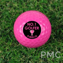 Personalised No.1 Golfer Pink Golf Ball