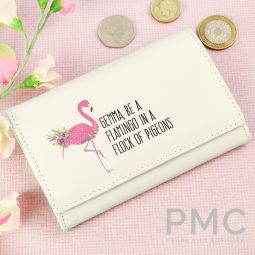Personalised Flamingo Cream Leather Purse
