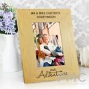 Personalised Our Adventures 6x4 Oak Finish Photo Frame